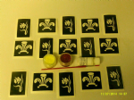 St. Davids Day - Daffodil & Welsh Feather glitter tattoo set including 20 stencils + 2 pots of glitter + glue